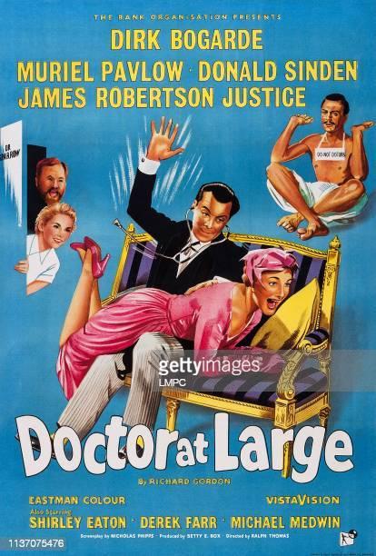 Doctor At Large poster British poster art left James Robert Justice Muriel Pavlow center Dirk Bogarde 1957