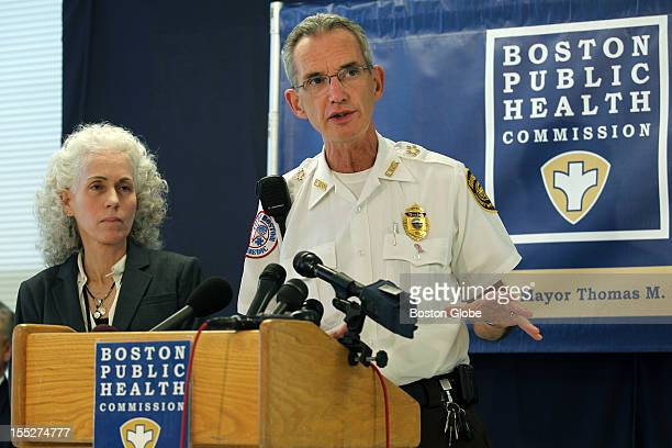 Doctor Barbara Ferrer executive director Boston Public Health Commission and Boston EMS Chief James Hooley at a press conference concerning an...