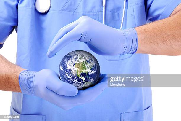 Doctor caring the earth