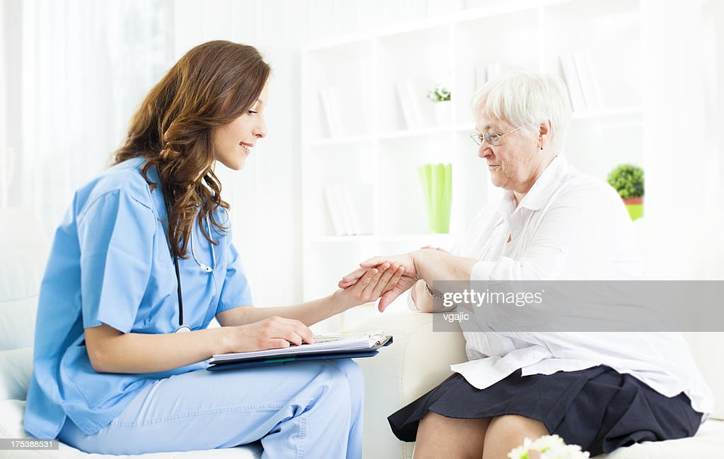 Doctor Checking Psoriasis on Senior Woman patient hand. : Stock Photo