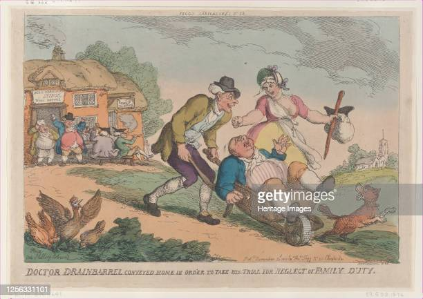 Doctor Drainbarrel Conveyed Home in order to Take His Trial for Neglect of Family Duty November 30 1810 Artist Thomas Rowlandson