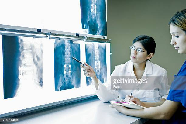 Doctor examining x-rays with nurse