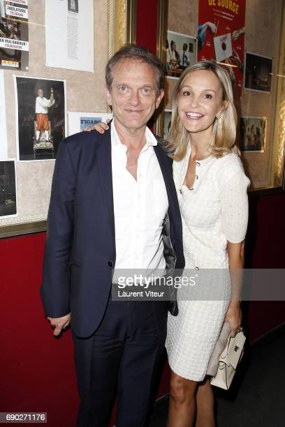 Doctor Frederic Saldmann and his wife Marie attend 'Ca Coule de Source ' Theater Play at Theatre de la Gaite Montparnasse on May 30 2017 in Paris...