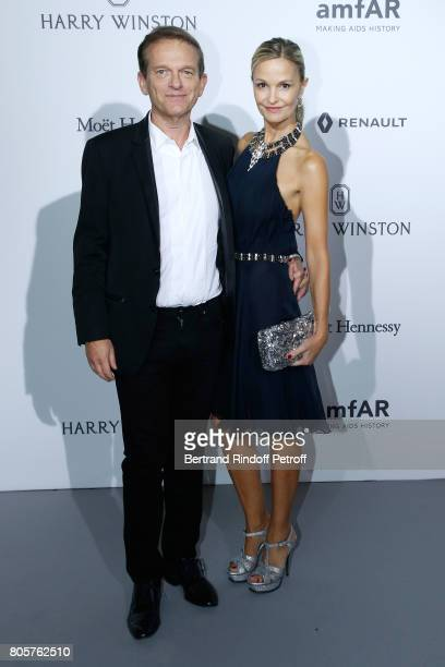 Doctor Frederic Saldmann and his wife Marie Saldmann attend the amfAR Paris Dinner 2017 at Le Petit Palais on July 2 2017 in Paris France