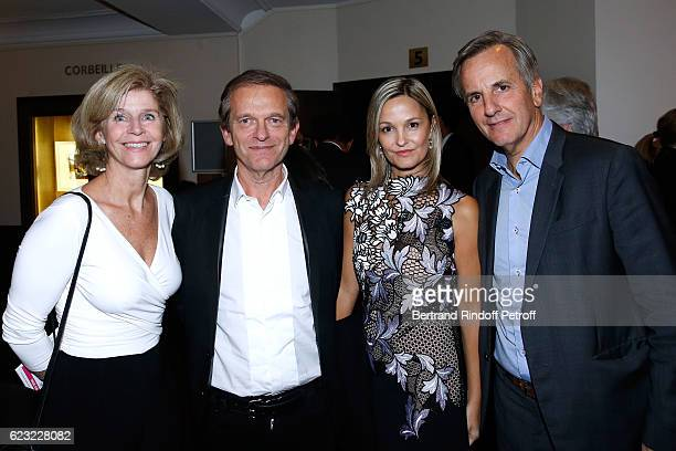 Doctor Frederic Saldmann and is wife Marie standing between Journalist Bernard de la Villardiere and his wife Anne de la Villardiere attend the 24th...