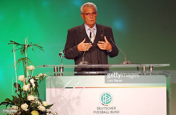 Doctor Friedel Guett speaks during the second day of the DFB Bundestag at the Rheingoldhalle on October 26 2007 in Mainz Germany