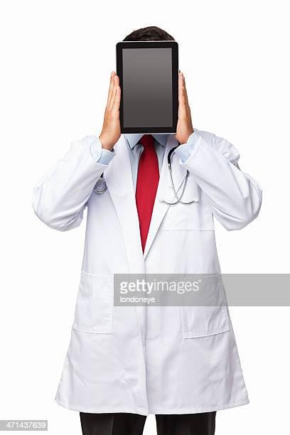 医師保有のデジタルタブレットの前には顔-分離