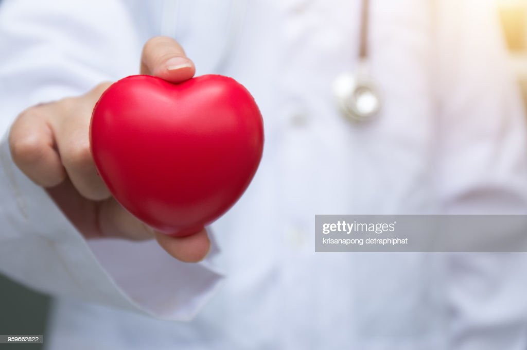 Doctor holding red heart with stethoscope on white background. : Stock-Foto
