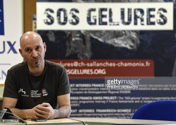 Doctor in chief Frederic Champly gives a press conference at the hospital in Sallanches French Alps before the return to French mountaineer Elisabeth...