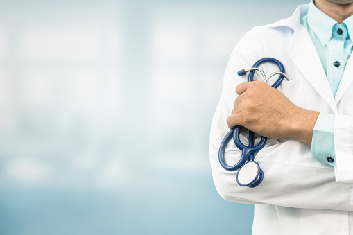 Doctor in hospital background with copy space 949812160