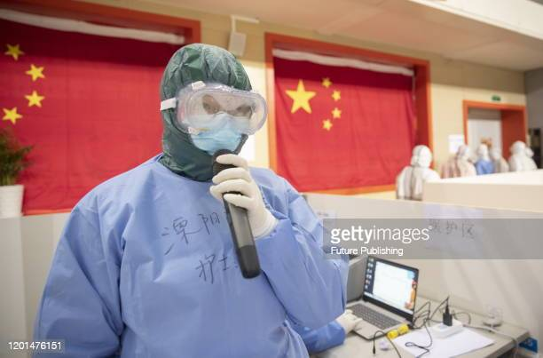 WUHAN CHINA FEBRUARY 14 2020 A doctor in Wuhan fangcang hospital Wuhan City Hubei Province China February 14 2020 PHOTOGRAPH BY Costfoto / Barcroft...