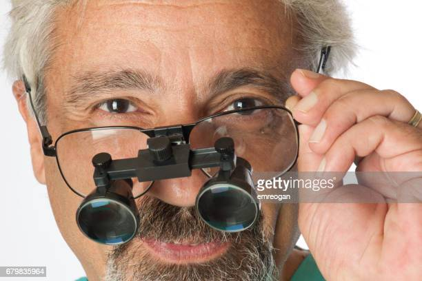 Doctor magnifying spectacles
