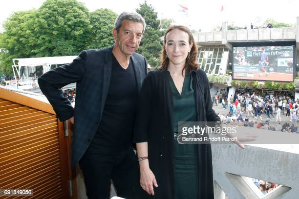 Doctor Michel Cymes and President of France Television Delphine Ernotte attend the 'France Television' Lunch during the 2017 French Tennis Open Day...