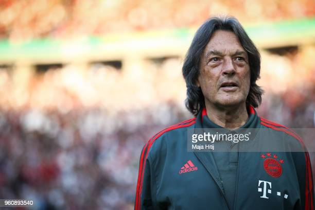 Doctor of Bayern Munich HansWilhelm MullerWohlfahrt looks on prior to the DFB Cup final between Bayern Muenchen and Eintracht Frankfurt at...