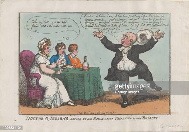 Doctor O'Meara's Return to His Family After Preaching Before Royalty, April 1, 1809. Artist Thomas Rowlandson.