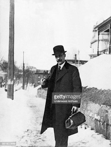 A doctor on his way to make a house call for a patient circa 1900