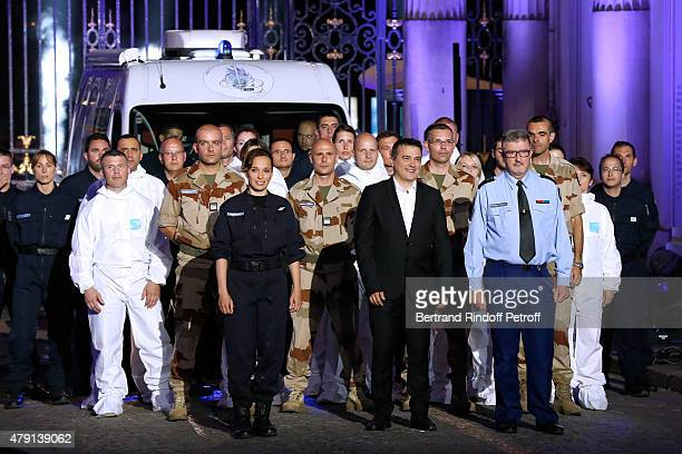 Doctor Patrick Pelloux standing between Angelique General Jacques Hebrard and The Experts of the Scientific Police attend the 'Une Nuit avec la...