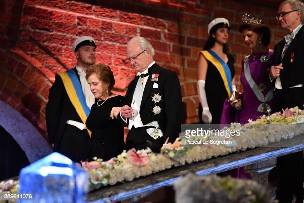 Doctor Samoan Barish and King Carl XVI Gustaf of Sweden and Queen Silvia of Sweden and Joachim Frank laureate of the Nobel Prize in chemistry attend...