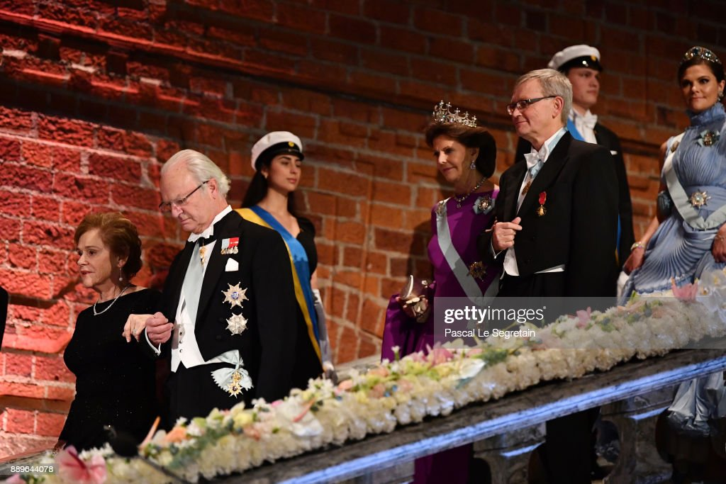 Doctor Samoan Barish and King Carl XVI Gustaf of Sweden and Queen Silvia of Sweden and Joachim Frank, laureate of the Nobel Prize in chemistry attend the Nobel Prize Banquet 2017 at City Hall on December 10, 2017 in Stockholm, Sweden.