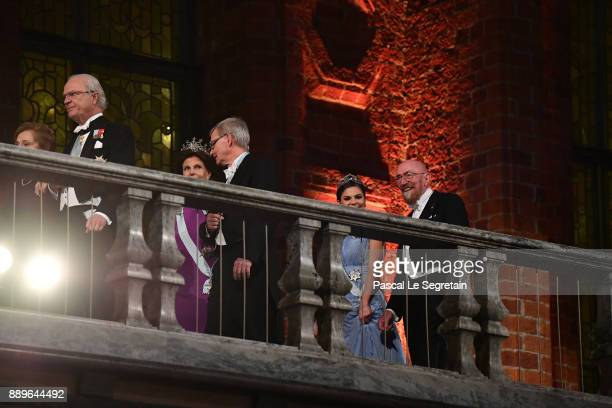 Doctor Samoan Barish and King Carl XVI Gustaf of SwedenQueen Silvia of Sweden and Joachim Frank laureate of the Nobel Prize in chemistry and Crown...