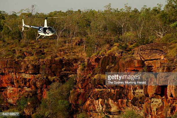 Doctor Sarah Legge conducts an aerial survey of gorge country on Wongalara Station near Darwin in the Northern Territory which the Australian...