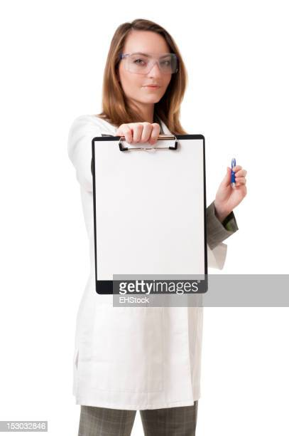Doctor Scientist with Blank Clipboard Isolated on White Background