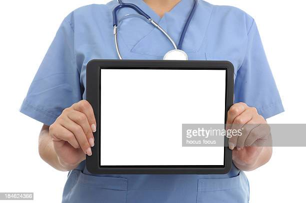 Doctor showing digital tablet