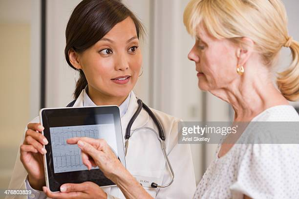 Doctor showing digital tablet to patient