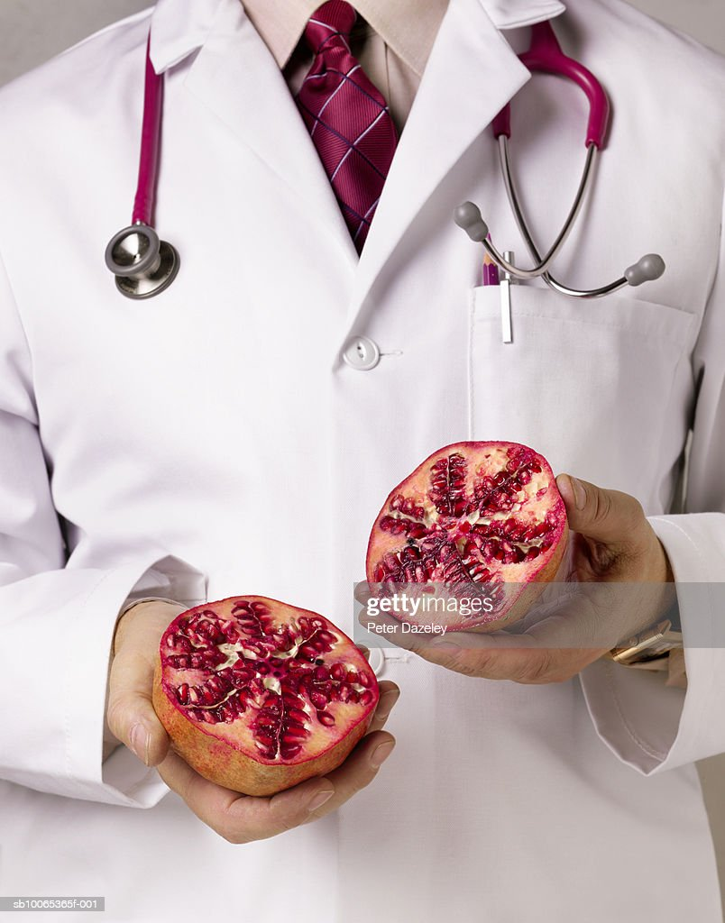 Doctor showing pomegranate, close-up, mid section : Foto stock