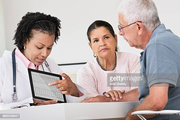 Doctor showing pulse trace on digital tablet to patients