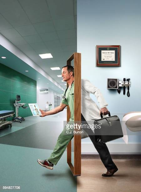 doctor stepping through door, digital composite - doorway stock pictures, royalty-free photos & images