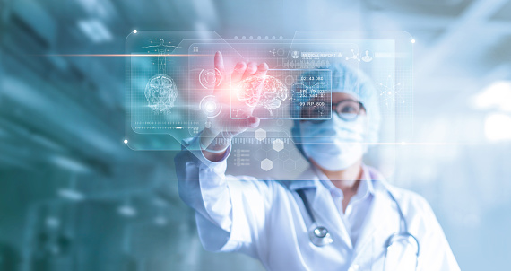 Doctor, surgeon analyzing patient brain testing result and human anatomy on technological digital futuristic virtual computer interface, digital holographic, innovative in science and medicine concept 962094932