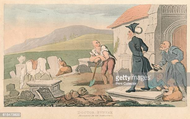 Doctor Syntax Meditating on the Tombstones', 1820. From The Second Tour of Doctor Syntax, In Search of Consolation, by William Combe. [Ackermann,...