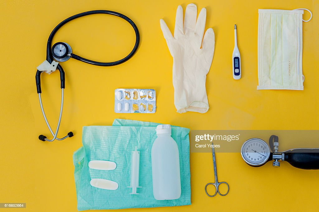 Doctor table with medical items. Flat lay : Stock Photo