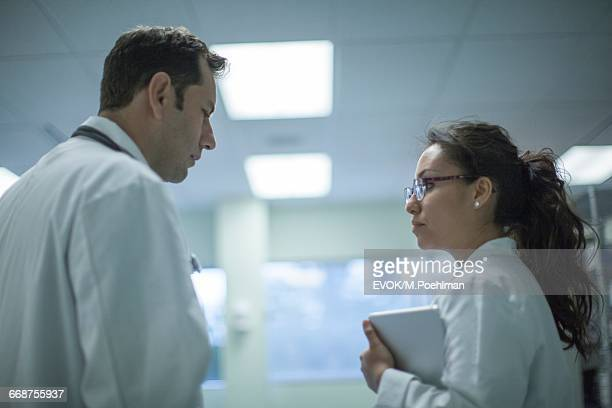 Doctor talking with nurse in hospital