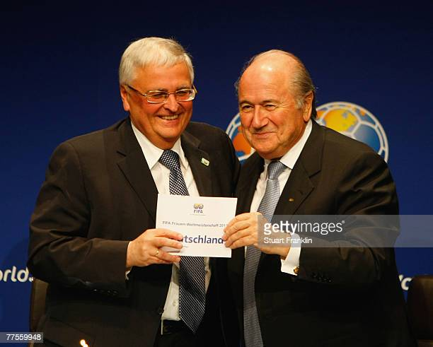 Doctor Theo Zwanziger, President of German Football Association with Sepp Blatter, President of FIFA after announcing Germany as the host venue of...