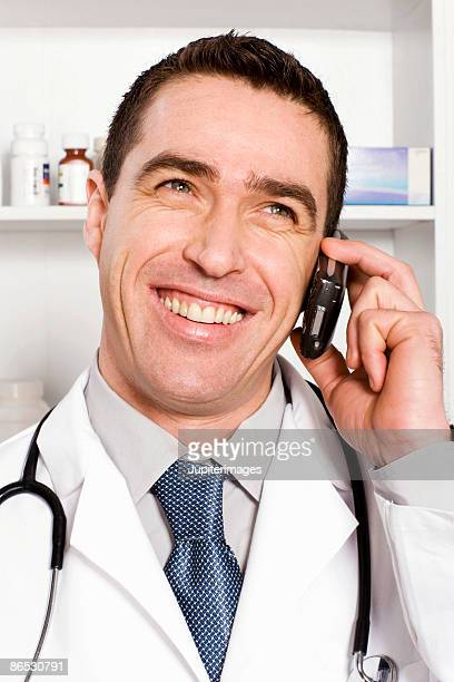 Doctor using cell phone