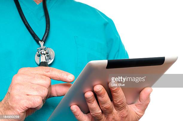 Doctor Using Digital Tablet.Isolated.