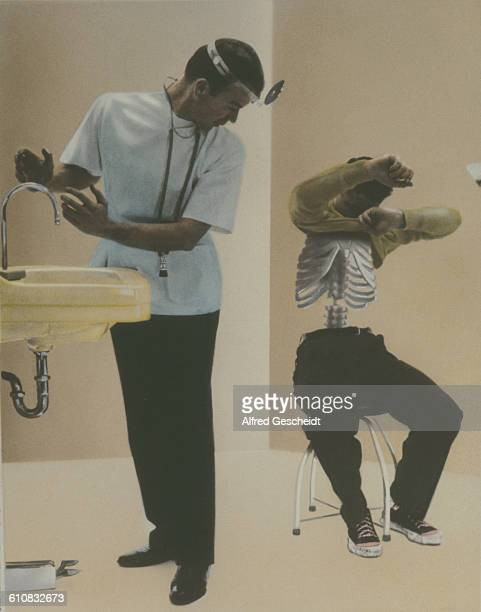 A doctor washes his hands as his patient disrobes to reveal a fleshless torso and visible ribcage circa 1979