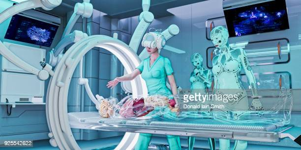 Doctor wearing virtual reality helmet treating transparent patient