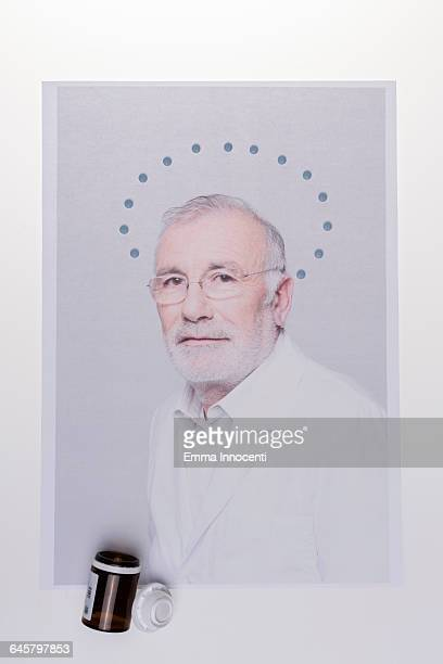 Doctor with a medicine halo around his head