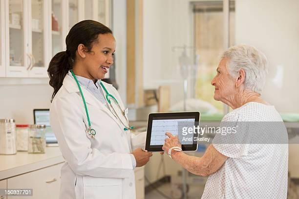 医師、デジタルタブレットを患者に話している