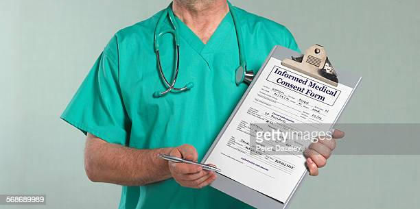 Doctor with medical consent form
