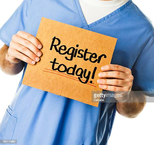 doctor with sign: register today! - today single word stock pictures, royalty-free photos & images
