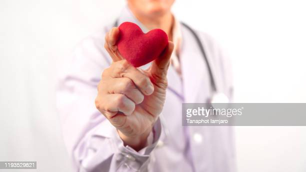 doctor with stethoscope holding heart, on light background - beating heart stock pictures, royalty-free photos & images