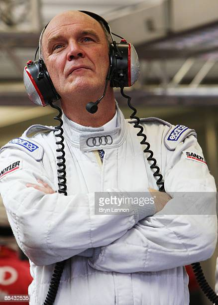 Doctor Wolfgang Ulrich of Audi is seen during qualifying for the 77th running of the Le Mans 24 Hour race at the Circuit des 24 Heures du Mans on...