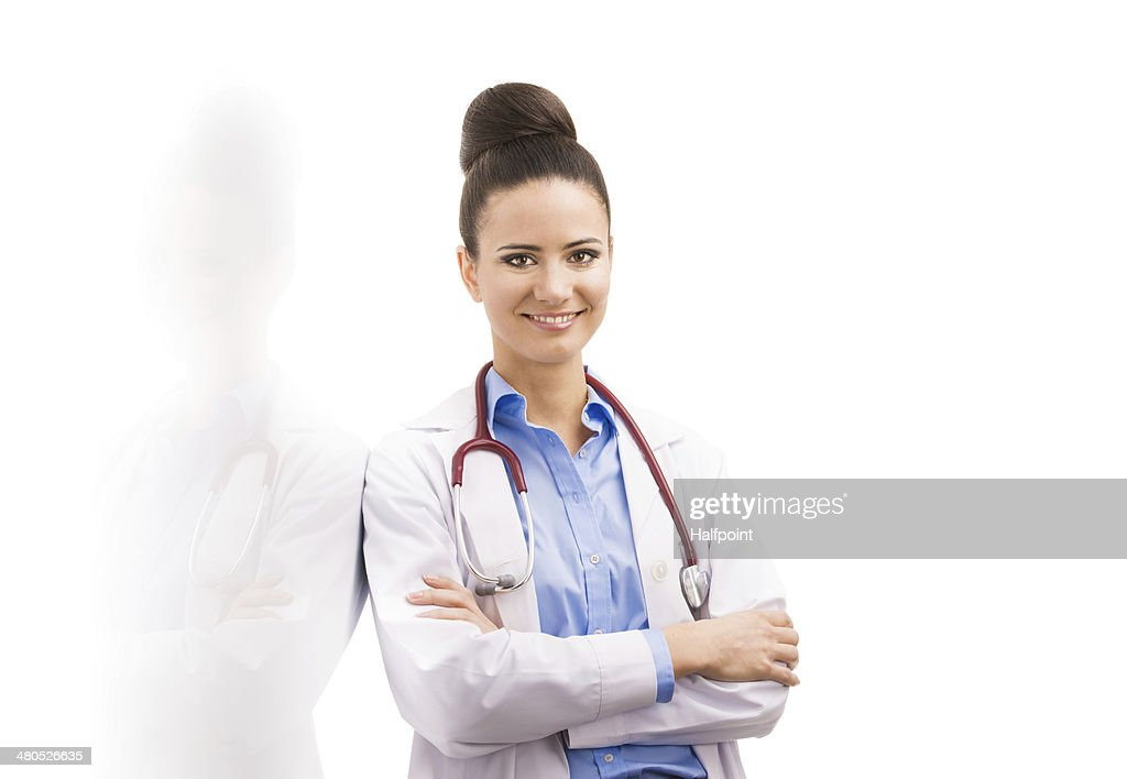 Doctor woman with stethoscope : Stock Photo