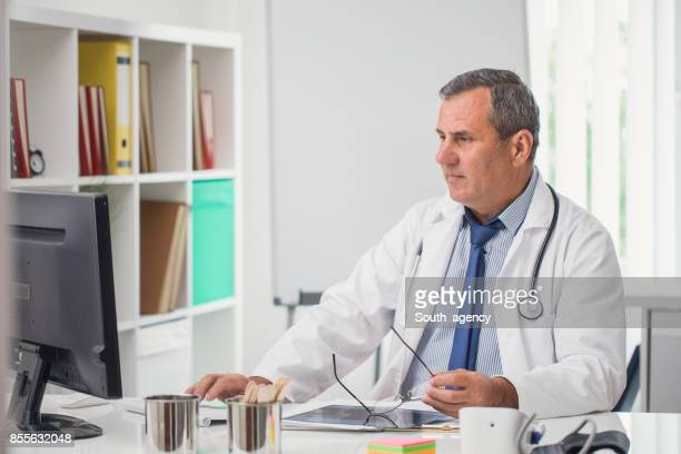 Doctor working on computer