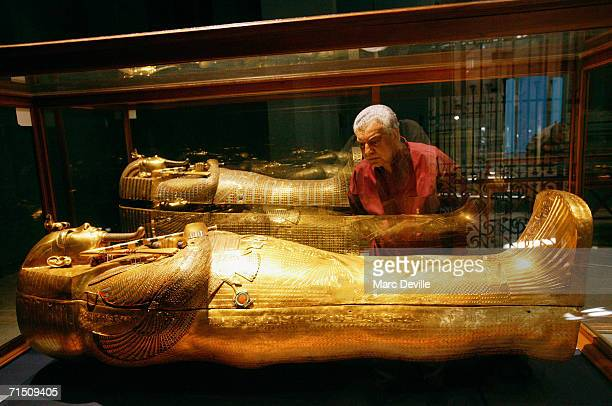 Doctor Zahi Hawass the secretary general of the Supreme Council of Antiquities looks at the sarcophagus of Tutankhamun, the most famous Egyptian...