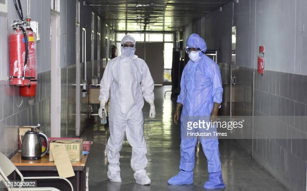 Doctors and medical workers in PPE kits inside the isolation ward at Guru Nanak Dev Hospital, on May 13, 2020 in Amritsar, India.